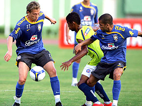 Lucas (left) training with Brazil