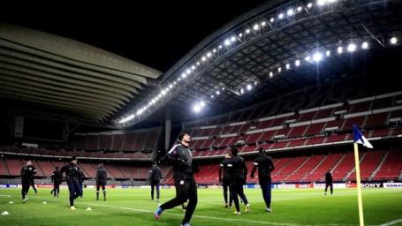 Corinthians training in the Toyota stadium