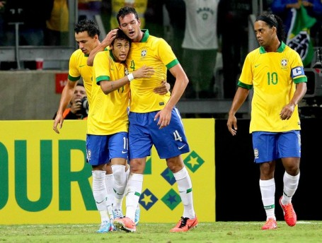 Ronaldinho (right) will be sitting out the Confederations Cup